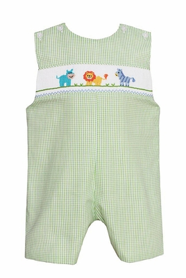 Petit Bebe Infant / Toddler Boys Green Check Smocked Safari Animals Shortall