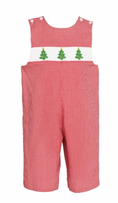 Petit Bebe Infant / Toddler Boys Smocked Christmas Trees Longall - Red Check