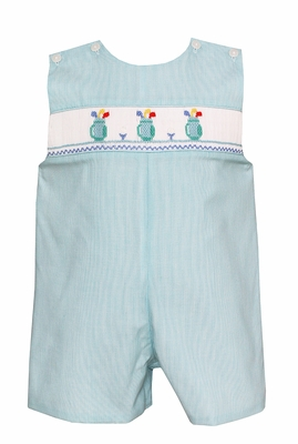 Petit Bebe Infant / Toddler Boys Turquoise Stripe Smocked Golf Bags Jon Jon