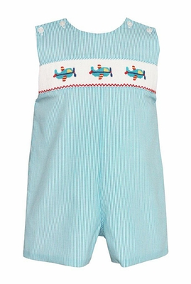 Petit Bebe Infant / Toddler Boys Turquoise Striped Smocked Airplanes Shortall