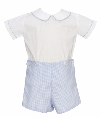 Petit Bebe Infant / Toddler Boys White / Blue Check Button On Set