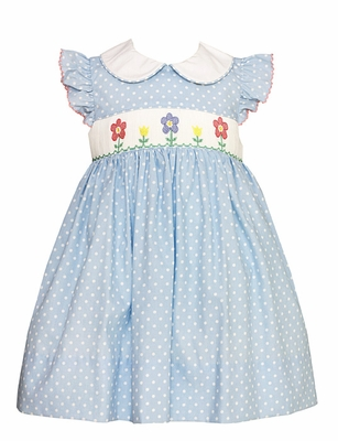 Petit Bebe Infant / Toddler Girls Blue / White Dots Dress - Flutter Sleeves - Smocked Spring Garden Flowers