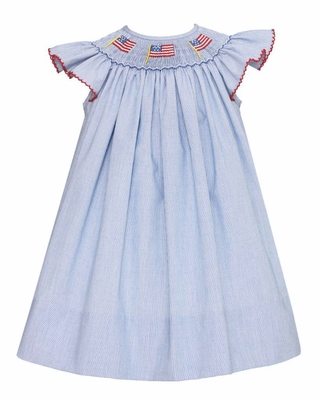 Petit Bebe Infant / Toddler Girls Blue Striped Smocked Patriotic Flags Dress