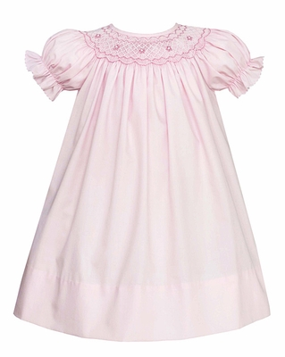 Petit Bebe Infant / Toddler Girls Pink Poplin Smocked Bishop Dress