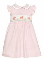Petit Bebe Knits Infant / Toddler Girls Pink Striped Smocked Baby Lambs Dress - Ruffle Collar