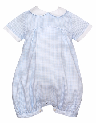 Petit Bebe Knits Baby Boys Blue Check Romper with Collar