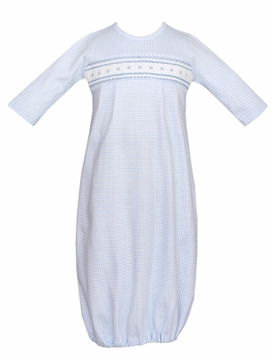 Petit Bebe Knits Baby Boys Blue Check Smocked Gown
