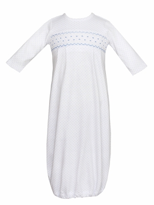 Petit Bebe Knits Baby Boys White / Blue Dots Gown - Smocked in Blue