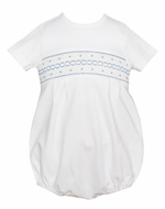 Petit Bebe Knits Baby Boys White Bubble - Smocked in Blue