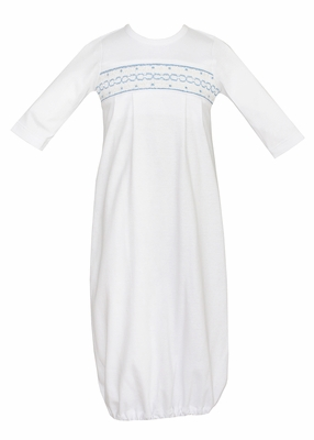 Petit Bebe Knits Baby Boys White Gown - Smocked in Blue
