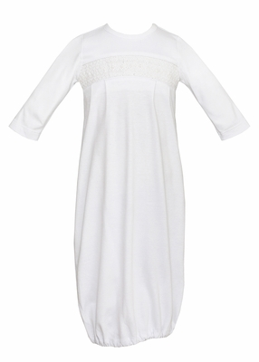 Petit Bebe Knits Baby Boys White Smocked Gown