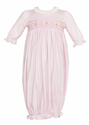 Petit Bebe Knits Baby Girls Smocked Gown - Ruffle Neck - Pink Check