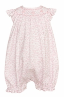 Petit Bebe Knits Baby Girls Pink Floral Smocked Bubble - Ruffles on Back