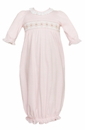 Petit Bebe Knits Baby Girls Smocked Gown - Ruffle Neck - Solid Pink