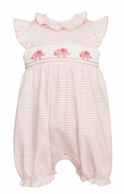 Petit Bebe Knits Baby Girls Pink Striped Smocked Elephants Bubble