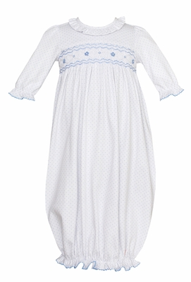 Petit Bebe Knits Baby Girls White / Blue Dots Gown - Smocked in Blue
