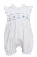 Petit Bebe Knits Baby Girls White / Blue Dots Smocked Anchors Bubble