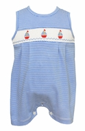 Petit Bebe Knits Baby / Toddler Boys Royal Blue Striped Smocked Sailboats Romper