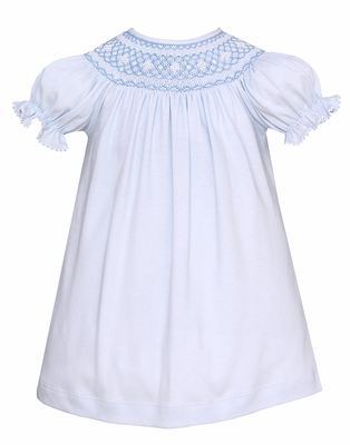 Petit Bebe Knits Baby / Toddler Girls Blue Smocked Bishop Dress