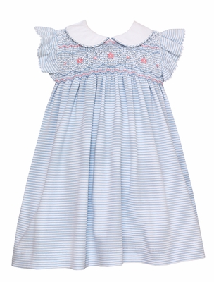 Petit Bebe Knits Baby / Toddler Girls Blue Striped Smocked Dress with Collar