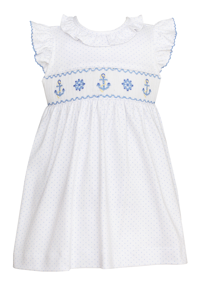 Petit Bebe Knits Baby Toddler Girls White Blue Dots Smocked