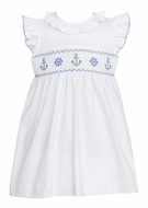 Petit Bebe Knits Baby / Toddler Girls White / Blue Dots Smocked Anchors Dress