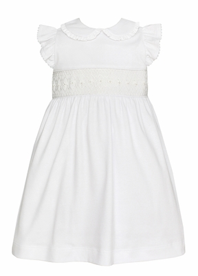 Petit Bebe Knits Baby / Toddler Girls White Smocked Dress - Pearls and Ruffle Collar
