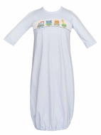 Petit Bebe Knits Infant Boys Gown - Smocked Toy Animals Parade - Blue Check