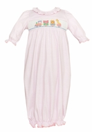 Petit Bebe Knits Infant Girls Gown - Smocked Toy Animals Parade - Pink Check
