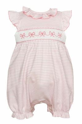 Petit Bebe Knits Infant Girls Pink Stripe Smocked Bows Bubble