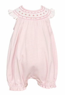 Petit Bebe Knits Infant Girls Pink Striped Smocked Bubble