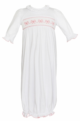 Petit Bebe Knits Infant Girls White Ruffle Neck Gown - Smocked Pink Bows