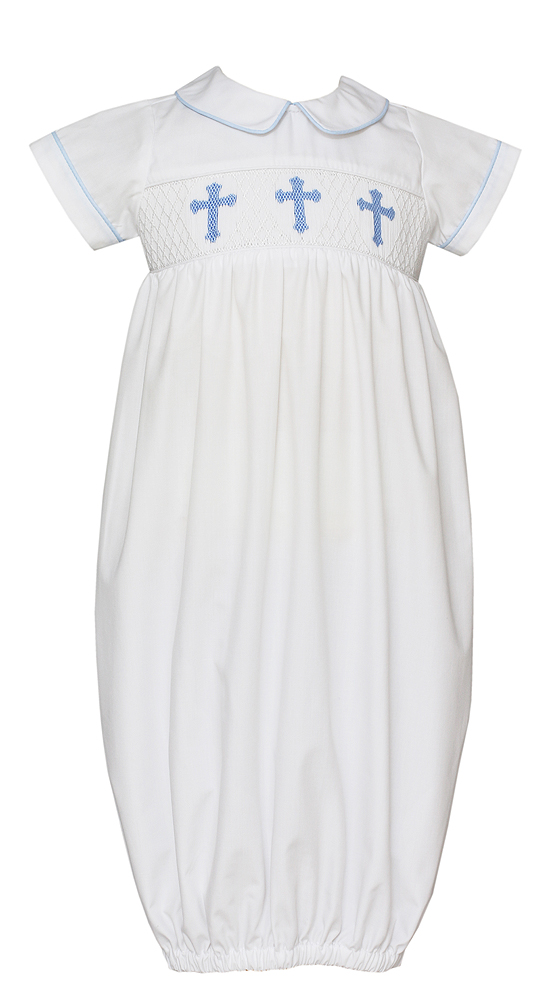 Petit Bebe Newborn Baby Boys White Poplin Sack Gown - Smocked Blue ...