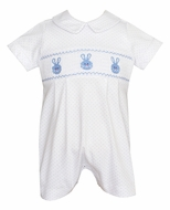 Petti Bebe Knits Baby Boys White / Blue Dots Smocked Easter Bunny Romper