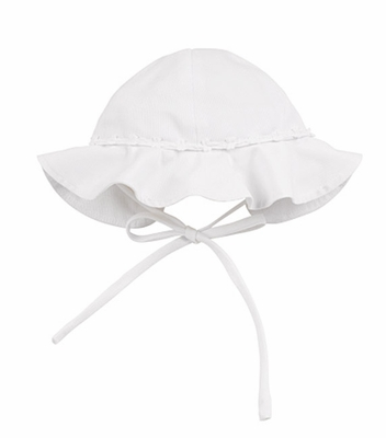 Florence Eiseman Baby / Toddler Girls White Pique Sun Hat with Bows