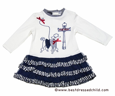 Kate Mack Girls Navy Blue Poodle in Paris Dress