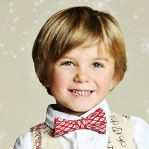 Mustard Pie Boys Bow Tie - Cherry Silver