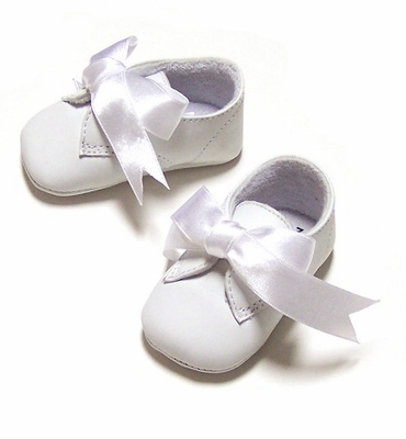 Precious Angel White Leather Baby Dress Shoes with Ties