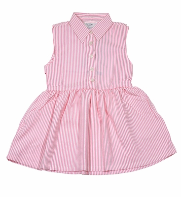 Prodoh Fishing Dress - Girls Begonia Pink Seersucker Sleeveless Dress