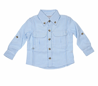 Prodoh Fishing Shirts for Kids - Boys / Girls Blue Bell Seersucker