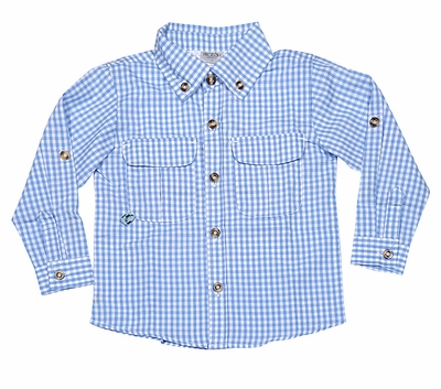 Prodoh fishing shirts for kids boys or girls blue gingham for Prodoh fishing shirts