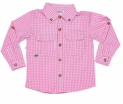 Prodoh fishing shirts for kids boys or girls pink gingham for Prodoh fishing shirts