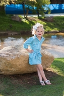 Prodoh Fishing Shirts for Kids - Girls Belted Gingham Dress - Blue