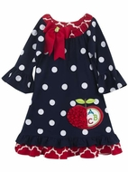 Rare Editions Girls Navy Blue / White Dot Back to School Dress with Red Apple