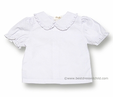 Rosalina Girls White Blouse with Ruffled Collar - SHORT Puffy Sleeves