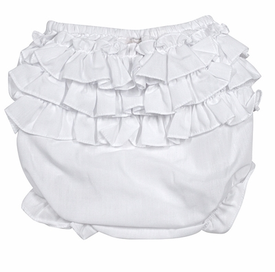 Rosalina Infant Girls White Ruffled Diaper Cover / Bloomers