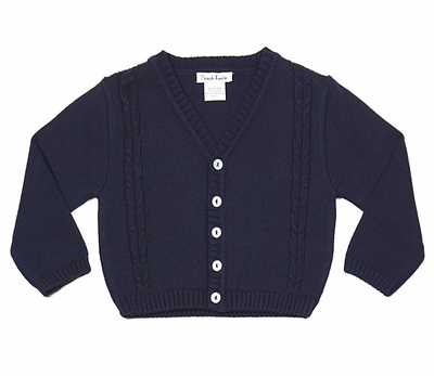 Sarah Louise Baby / Toddler Boys Cable Knit Cardigan Sweater - Navy Blue