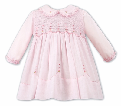 Sarah Louise Baby / Toddler Girls Pink Smocked Bodice Dress with Scallop Ruffle Collar