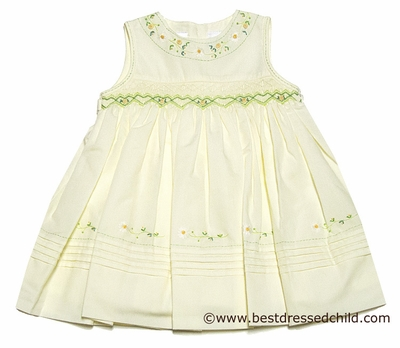 Sara Louise Baby / Toddler Girls Sleeveless Yellow Easter Dress - Smocked with Green