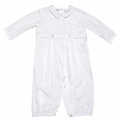 Sara Louise Infant Baby Boys Dressy Romper - WHITE - Suitable for Christening